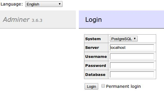 adminer login postgresql