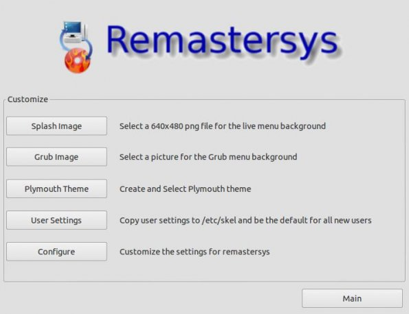 Remastersys Customize