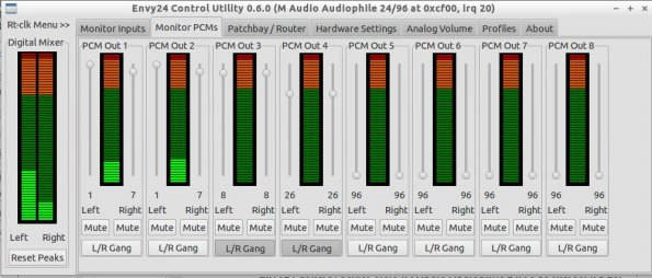 m-audio 2496 Envy24 Control Utility Output