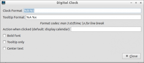 Digital Clock Lxpanel